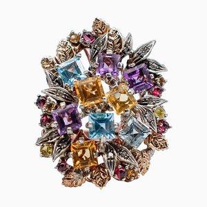 Anillo de amatista, topacio, granate, diamante, oro rosa de 9 quilates y plata