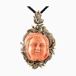 Pendiente de diamante, rubí, coral naranja grabado, oro rosa y plata