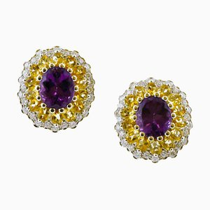 Diamond, Yellow Topaz, Amethyst & 14K White Gold Earrings, Set of 2