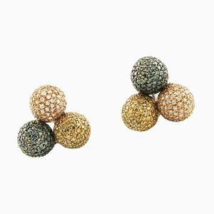 Fancy Diamond & 18 K Rose Gold Sphere Earrings, Set of 2