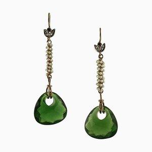 Hängende Ohrringe aus Gold und Silber, 2er Set