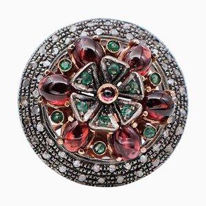 Garnet, Emerald, Diamond, Ruby, 9K Rose Gold and Silver Ring