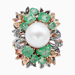 South Sea Pearl, Diamond, Emerald, Sapphire, Ruby, 9K Rose Gold and Silver Ring