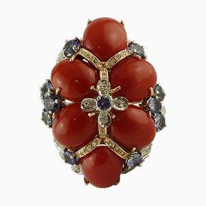 Bague en Corail, Tanzanite, Diamant et Or Blanc et Rose 14 Carats