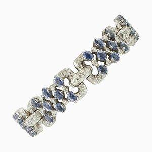 Handgefertigtes Gliederarmband aus Diamant, Saphir & 14 Karat Weißgold