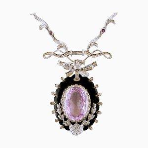Collar con colgante de amatista, diamantes, oro blanco de 14 quilates y esmalte