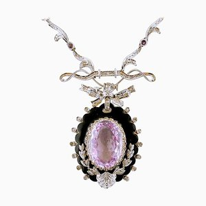 Collier à pendentif en améthyste, diamant, or blanc 14 carats et émail