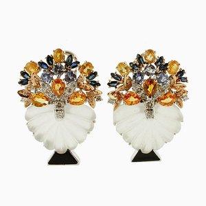 Ohrringe aus Diamant, Saphir, Tansanit, Bergkristall & 14 Karat Weißgold, 2er Set
