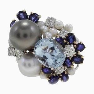 Anillo en forma de racimo de diamantes, zafiros, aguamarina, perlas y oro