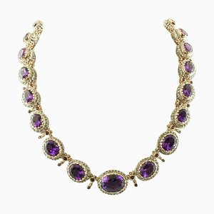 Handcrafted Amethyst, 9K Rose Gold and Silver Necklace