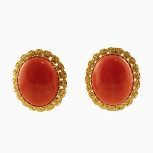 18K Yellow Gold and Coral Stud Earrings, Set of 2