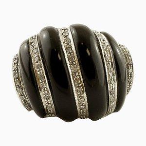 Diamond, Onyx & White Gold Dome Ring