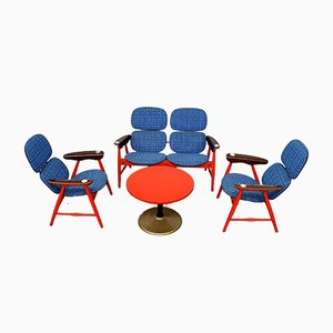 Butacas, sofá y mesa de centro de Marco Zanuso para Poltronova, años 60. Juego de 4