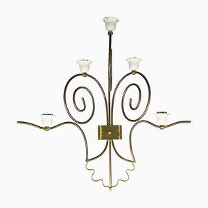 Applique Mid-Century in metallo bianco e ottone, Italia, set di 2