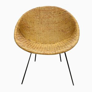 Mid-Century Wicker with Metal Lounge Chair, 1950s