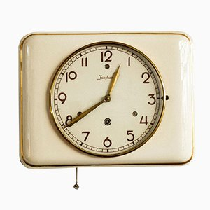 Mid-Century Ceramic Wall Clock from Junghans, Germany, 1950s