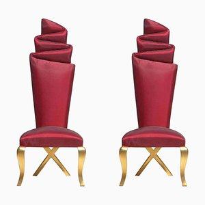 Chaises Dorées et Rouges, Set de 2