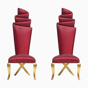Gold and Red Chairs, Set of 2