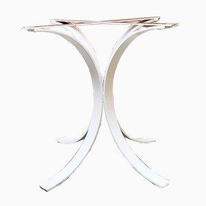 Italienischer Space Age Tisch aus weißem gebogenem Stahl für Round Top Tisch, 1970er