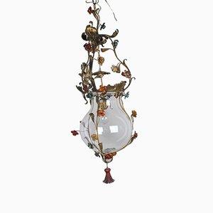 Lampe aus geblasenem Glas & Schmiedeeisen, 20. Jh