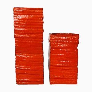 Mid-Century Italian Modern Orange Foam Rubber Vases with Irregular Surface, 1980s, Set of 2