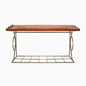 Suspended Teak Bedside Table with Golden Metal