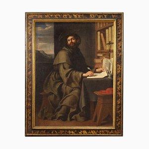 Antique Religious Painting of Saint Bonaventure, 17th Century