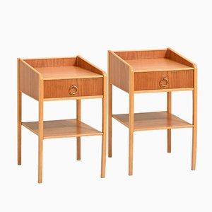 Scandinavian Bedside Tables with Magazine Rack, Set of 2