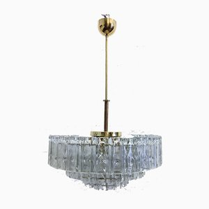 Chandelier with Square Glass Tubes from Doria Leuchten, 1960s
