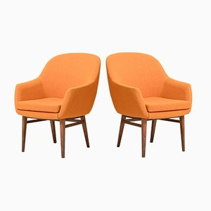 Scandinavian Armchairs with Orange Fabric, Set of 2