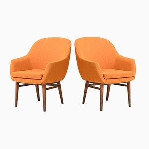 Skandinavische Armlehnstühle mit Orangefarbenem Stoff, 2er Set
