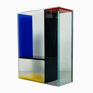 Mid-Century Italian Modern Transparent and Colored Plexiglass Vase by PO, 1980s