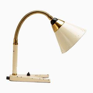 Cream and Brass Gooseneck Desk Lamp by Hans-Agne Jakobsson for AJH, Sweden, 1950s
