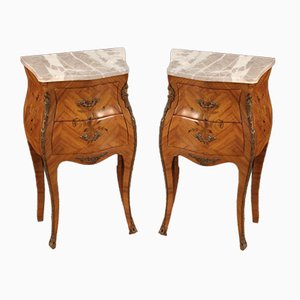 French Inlaid Bedside Tables with Marble Top, Set of 2
