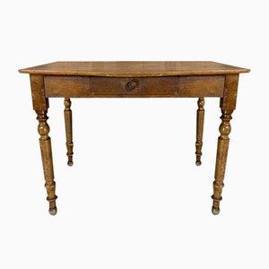 French Turned Leg Walnut Wood One Drawer Table Desk