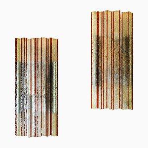 Lampen aus Bearbeitetem Glas von Poliarte, 1960er, 2er Set