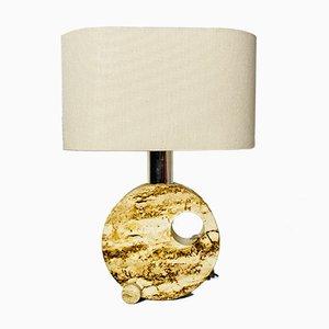 Moderne italienische Mid-Century Tischlampe aus Travertin mit Lampenschirm aus Baumwolle, 1970er