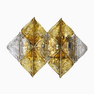 Bernsteinfarbene Wandleuchten aus Glas & Messing von Mazzega, 2er Set