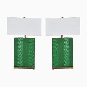 Lampade da tavolo in ottone, similpelle e metallo, Italia, set di 2