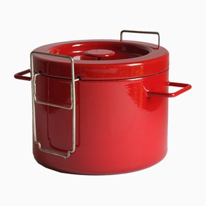Red Enamel Fryer by Michael Lax for Emalco Switzerland