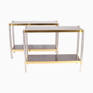 Brushed Steel Consoles in Golden Brass with Laminate Trays, Set of 2