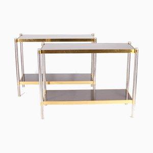 Consolas de acero cepillado de latón dorado con bandejas laminadas. Juego de 2