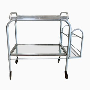 French Brushed Metal Mirror Drinks Trolley with Removable Tray