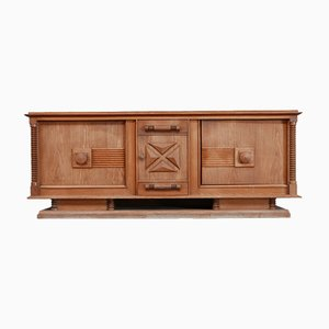 Large French Art Deco Oak Sideboard by Charles Dudouyt