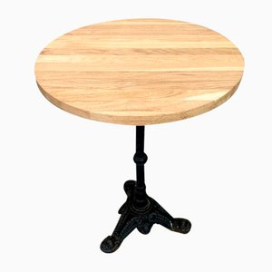Solid Oak and Cast Iron Bistro Table