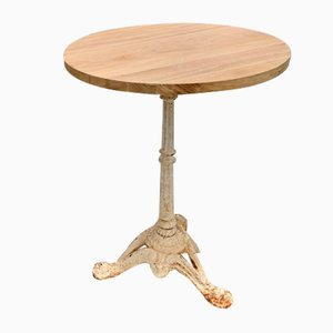 Circular Solid Oak and White Cast Iron Pedestal Bistro Table