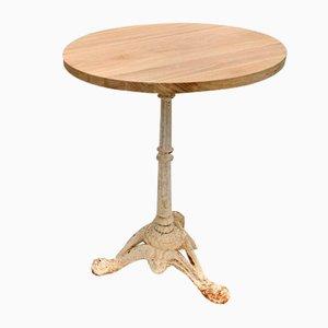 Tavolo da bistrò rotondo in legno di quercia massiccio e ghisa bianca