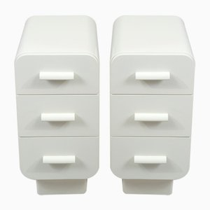 White Art Deco Nightstands from Up Závody, 1930s, Czechia, Set of 2
