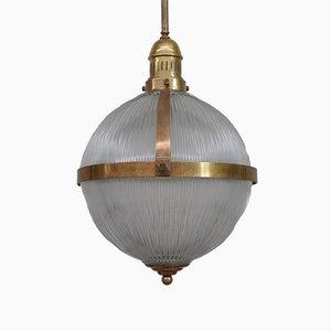 Large Mid-Century Brass and Glass Pendant Light