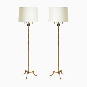 Brass Floor Lamps from Maison Jansen, Set of 2